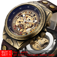 Steampunk Bronze Automatic Watch Men Mechanical Watches Vintage Retro Leather Transparent Skeleton Watch Clock Man Dropshipping