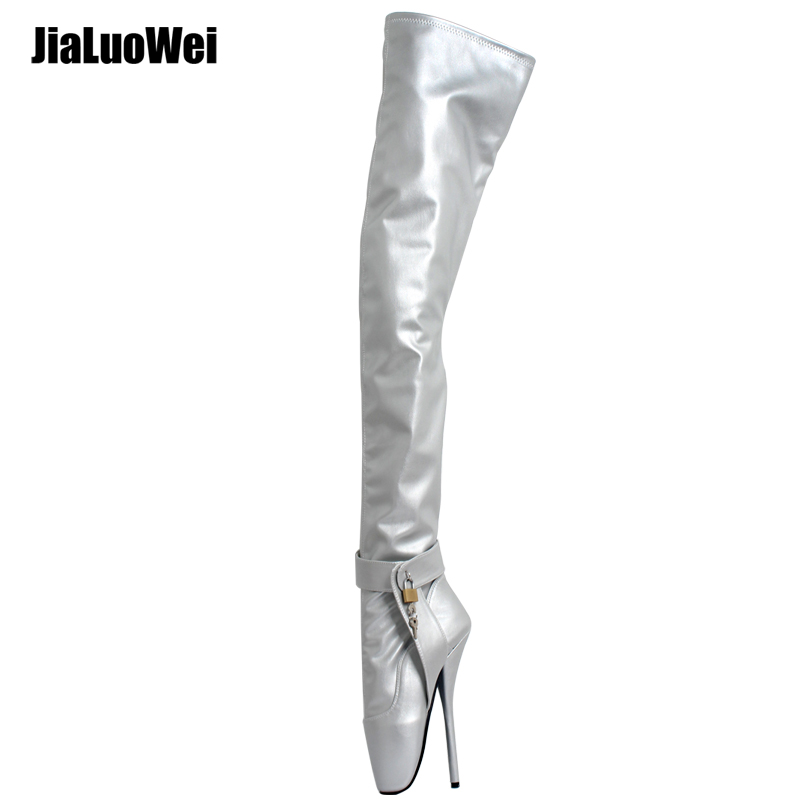jieluowei extreme high heel 18cm/7 Spkie Heel thigh boot sexy heels crotch boots patent leather fashion show