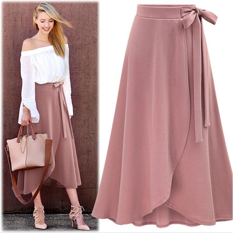 Spring Summer Office Clothes Women Chiffon Pink Ruffle Women's Long Skirt High Waist Bowtie Split Irregular Maxi Skirts C0740