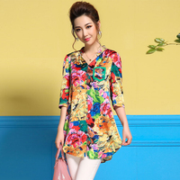 2018 summer v neck women loose blouse printed silk shirt tops top quality