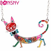 Bonsny Statement Maxi Enamel Kitten Cat Choker Necklace Alloy Pendant Chain Collar Animal Pets Accessories Jewelry For Women(China)