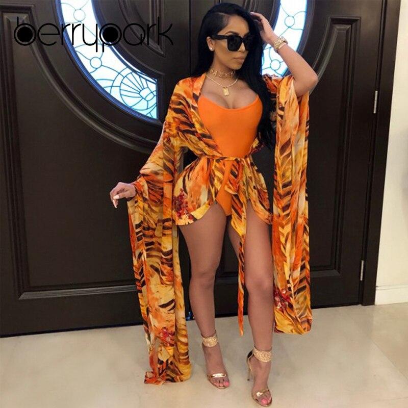 BerryPark 2019 Orange Print Bikini Set Swimwear Swim Bodysuit + Cover Up 2 PCS Sets Bath Suit Women Elegance Beach Wear Monokini eyelet insert botanical print bikini set