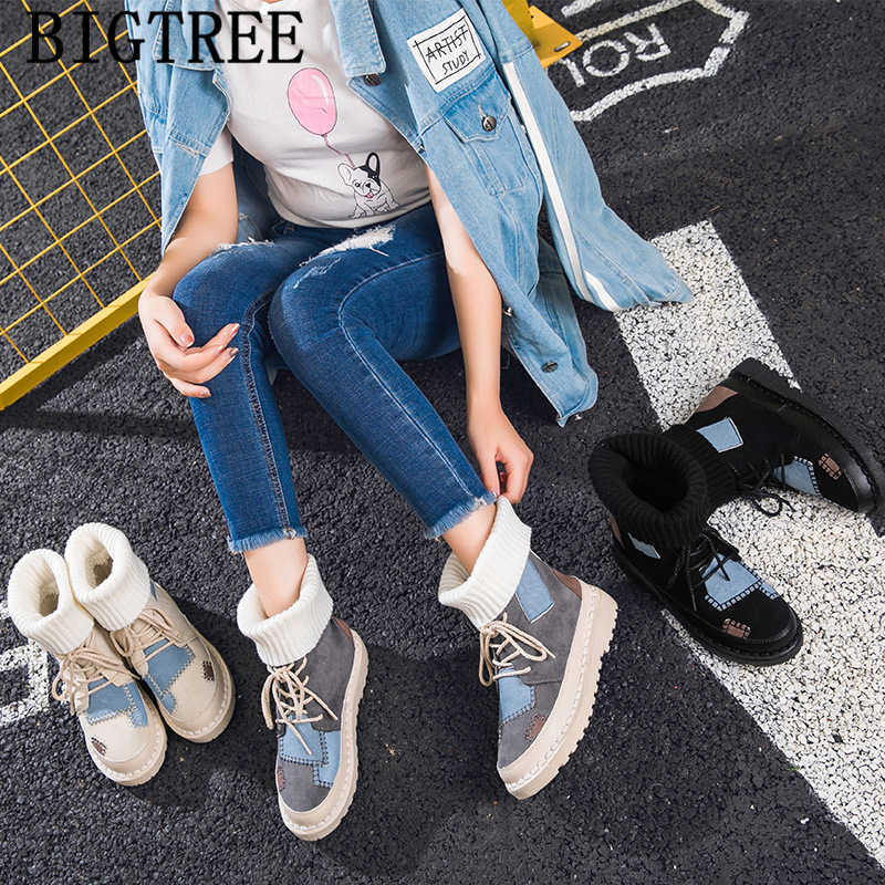 Moda çorap kadın kış ayakkabı kar botları tasarım ayakkabı yarım çizmeler kadınlar için kore tarzı ayakkabı marka zapatillas mujer