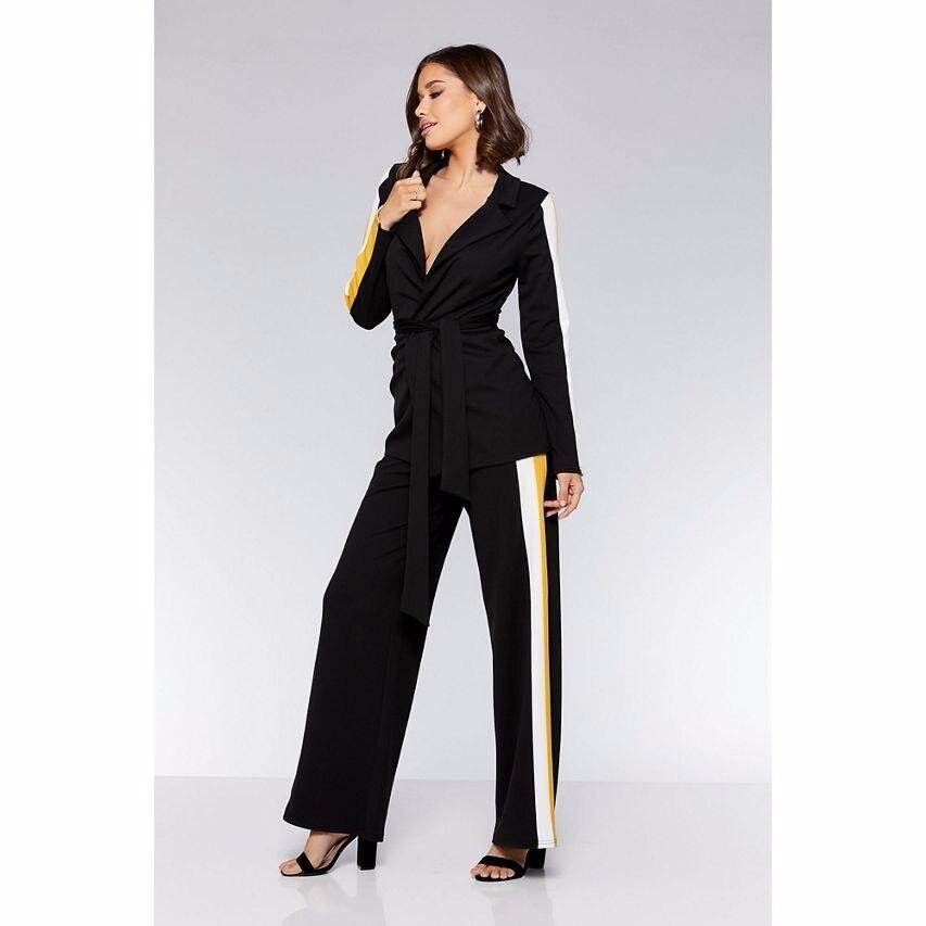 Vogue Черный шить Для женщин брюки костюмы Повседневное красивые костюмы для девочек Для женщин костюмы вечерние/Club костюмы индивидуальный з
