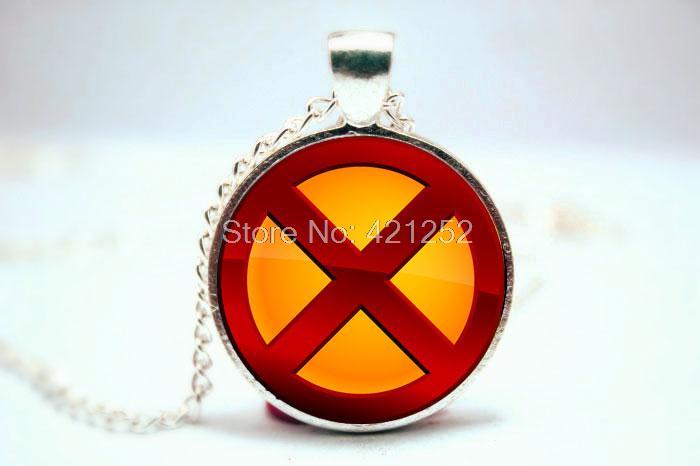 10PC SX MEN Logo Fashion Comic Superhero Pendant Necklace Glass Photo cabochon necklace ...