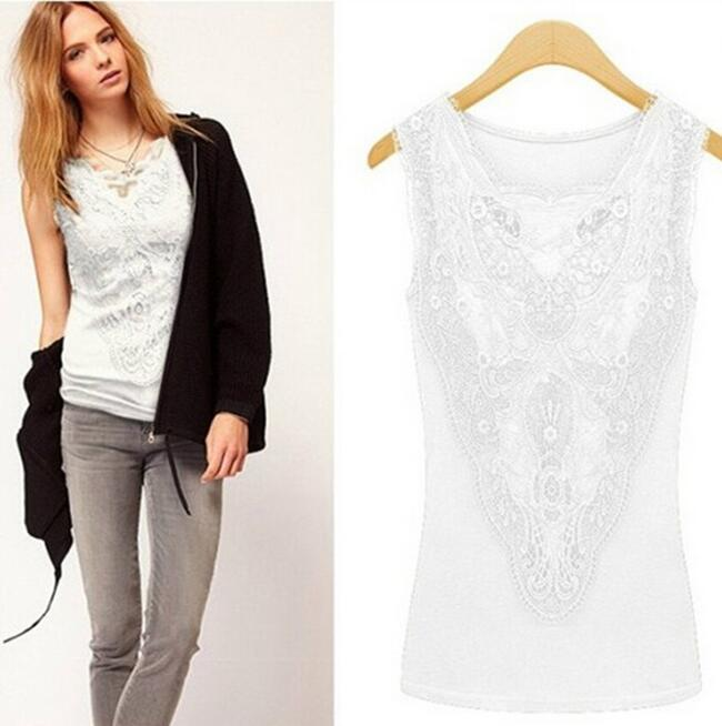 Summer Women Blouses Casual Lace Crochet Blouse Slim Sleeveless Blusas Feminina Tops Shirts Plus Size Blouses & Shirts