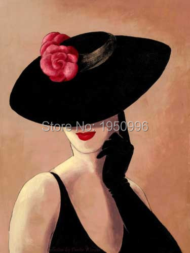 100% hand painted black hat Woman In Hat Modigliani Portrait decoration Oil Painting Art free shipping High quality
