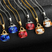 Eleple 3 Color Large Crystal Zircon Necklaces for Lady Fashion Stainless Steel Fine Pendant Necklace Jewelry Wholesale S-N841