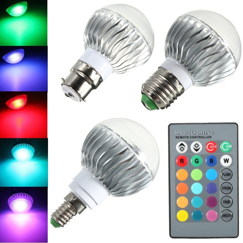 New Home Decoration Lights LED Lamp Bulb B22/E27/E14 Real Power 3W RGB Remote Control 16 Color Changing LED Light Bulb 85-265V