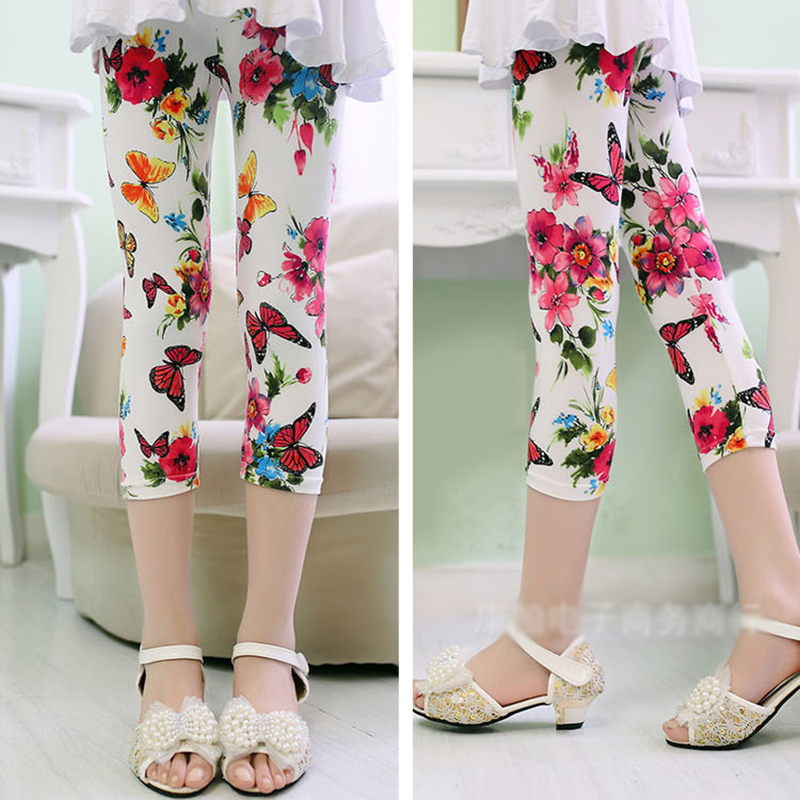 Hot Sale Summer Baby Girls Flower Printed Trousers Children   Pants   Casual Bottoms Children Leggings 2019 New-arrival   Capris