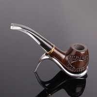 Carving Ebony Wood Pipes Activated Carbon Filter Smoking Pipe Tobacco Pipe Cigar Narguile Weed Grinder Smoke