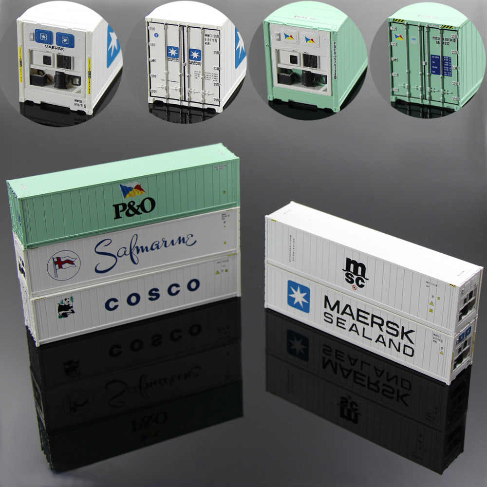 5pcs Mixed C8722 40ft Hi-Cube Refrigerater Shipping Containers Model container Freight Cars Container trucks HO Scale
