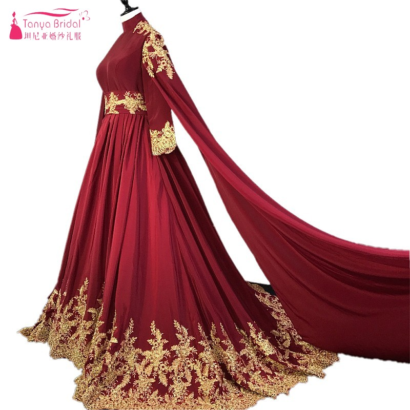 Long Sleeves Burgundy Red Gold Lace Court Train Arabic Wedding Dresses Muslim Wedding Bride Gown With Veil Real Photos DQG027