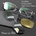 Hombres gafas de Marco Marco de Anteojos Plarized Lente gafas de Sol de las Gafas Graduadas Gafas de Visión Nocturna a Ojo óculo de grau