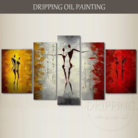 Artist Handmade High Quality 5 Pieces Thick Texture Dancer Portrait Oil Painting Wall Art 5 Panels Abstract Dancer Oil Painting