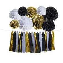 Black White Gold Tissue Paper Flowers! DIY Decorations For Baby Shower  Decoration Bridal Shower Wedding Nursery Decorations