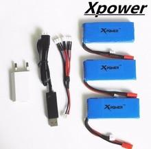 3 pcs 7.4 V 2500 mAh Xpower lipo Batterie avec Chargeur USB plug 3-port US Plug Chargeur Syma X8C X8W X8G RC Quadcopter adaptateur