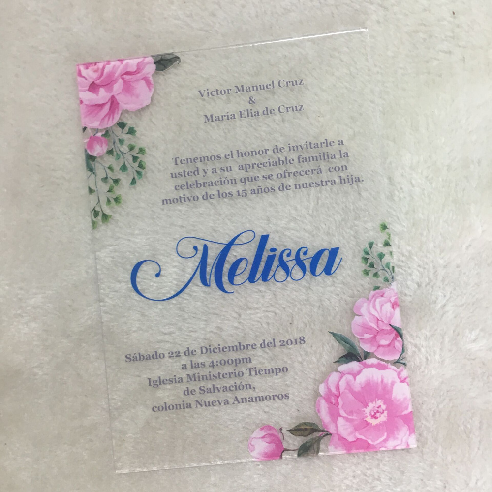 Nice Luxurious Wedding Invitation Card Colorful Printing Flower