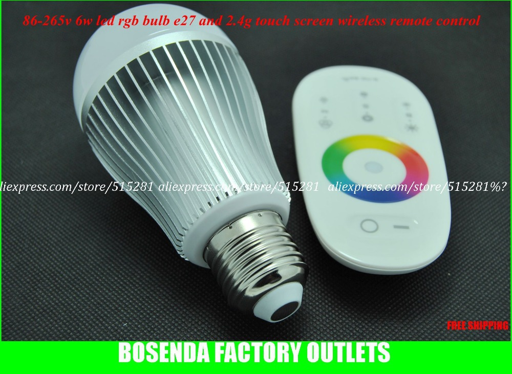 Led Rgb Bulb Lamp AC 86-265V 6W  E27With 2.4G High Frequency Touch Screen Wireless Remote Controller rgb 10w led bulb e27 e14 ac85 265v led lamp with remote control led lighting multiple colour