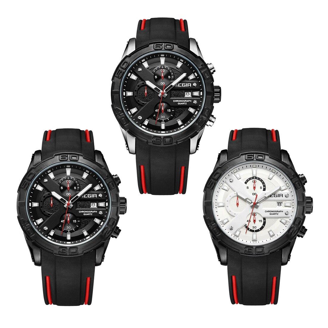 Mode De Luxe Marque Megir montre Hommes Quartz montre bracelet 2018 étanche montre-bracelet Sport montre Montres Horloge Hommes