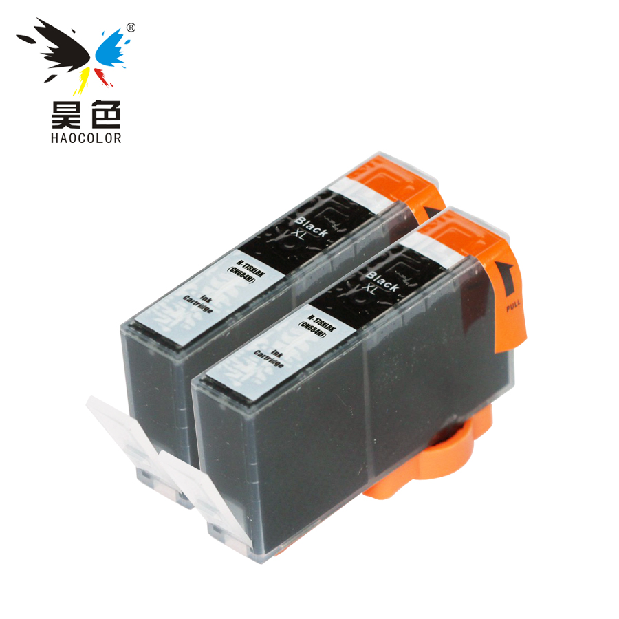 HAOCOLOR 2 Pcs Black Compatible Ink Cartridge with chip For HP 178xl 178 HP178 <font><b>HP178XL</b></font> cartridge printers image