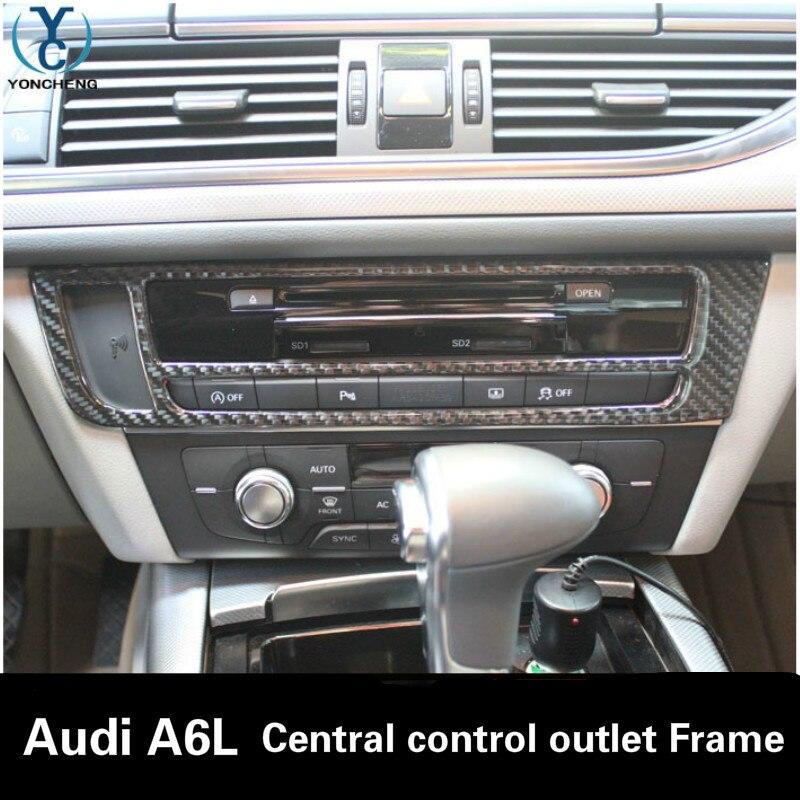 Carbon fiber Central control air conditioner outlet decorative frame Car interior Trim For Audi A7L A6L