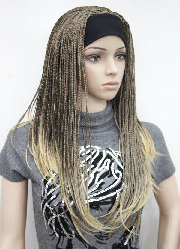 Ladies Brown mix with golden blonde 3/4 wig with headbands straight long braid half wig Heat Resistant Hair Wigs