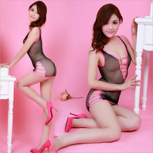 Sexy Lace Dew Ditch Temptation Perspective Sexy Hollow Out Transparent Sling Costume Netting Siamese Women Sex Products
