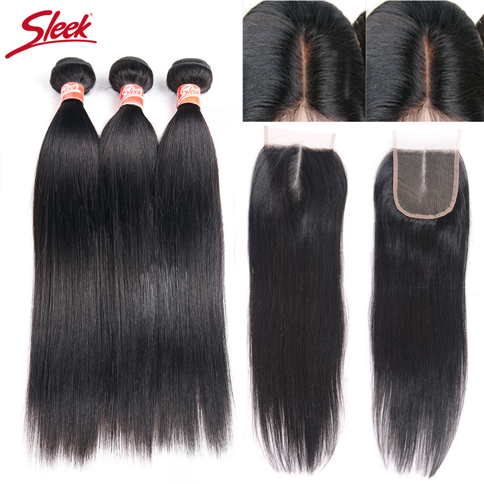 Sleek Malaysian Straight Hair Bundles With Closure Free Middle Three Part Non Remy Human Hair Weave
