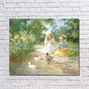 Handpainted Oil Painting Abstract Beautiful Children With Duck Picture On Canvas Home Decor For Living Room 1peice Paintings