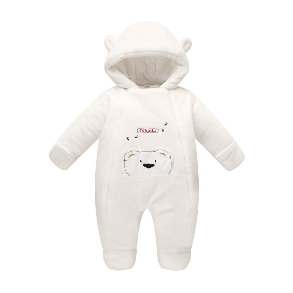 New fashion 2017 Newborn winter outerwear baby rompers coral fleece cotton padded infant baby girl clothes thickening jumpsuits