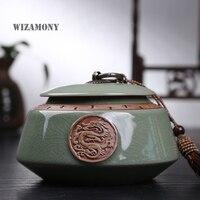 Dragon Hot Sale Top Grade Crackle Glaze Longquan Celadon Ceramics Capacity Eco Friendly Tea Caddy Tea