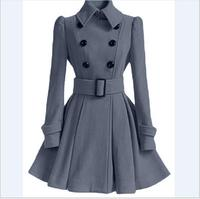 2017 Fashion Winter Coat Europe Belt Buckle trench Coat Double breasted Coat Casual Women Long Sleeve Dress Coat