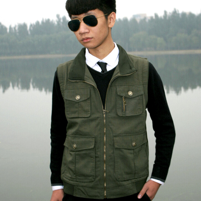 Spring Mens Jackets And Coats Winter Coat Pockets Photographer Vest Men Vest Plus Size 3 Colors Male Sleeveless Jacket