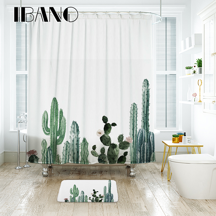 ibano tropical cactus shower curtain waterproof polyester fabric bath curtain for the bathroom. Black Bedroom Furniture Sets. Home Design Ideas