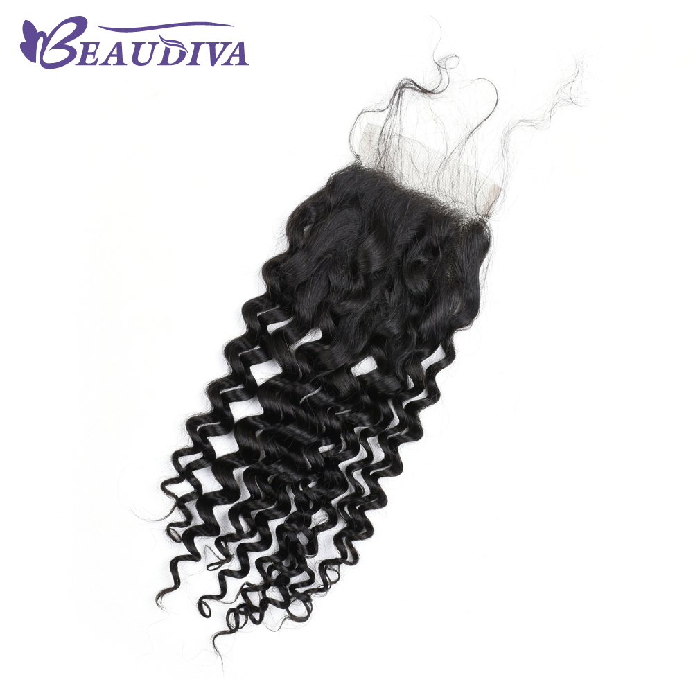 BEAUDIVA Brazilian Hair Kinky Curly Closure 4x4 Free Part Human Hair Closure Natural Color Free Shipping