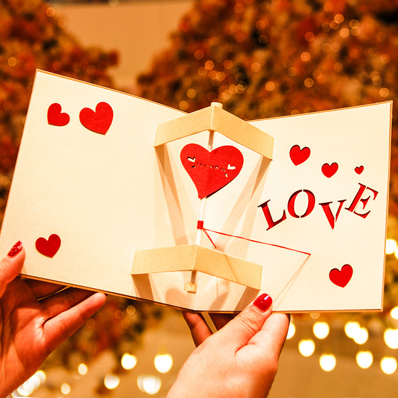 Handmade Valentine/'s  Day Gift Blessing Paper-cut Greeting Card Cards Creative