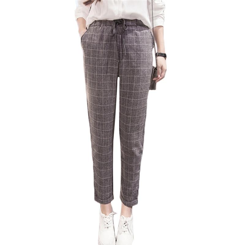 Harlan   pants   Spring Autumn 2019 New Women Korean loose Thin Cotton   Wide     leg     Pants   Casual Lattice radish   Pants   Nine   Pants   F288