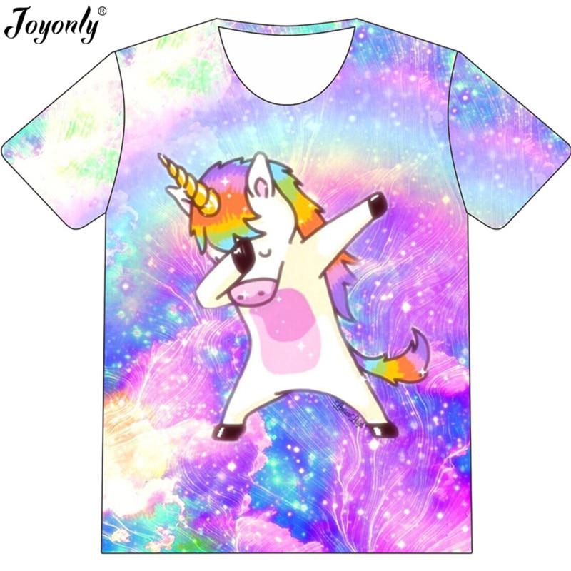 Joyonly New 2019 Summer Children Fashion Dab Anime T-shirt Boys Girls Funny T shirts Dabbing Unicorn Colorful Galaxy Tops Tee