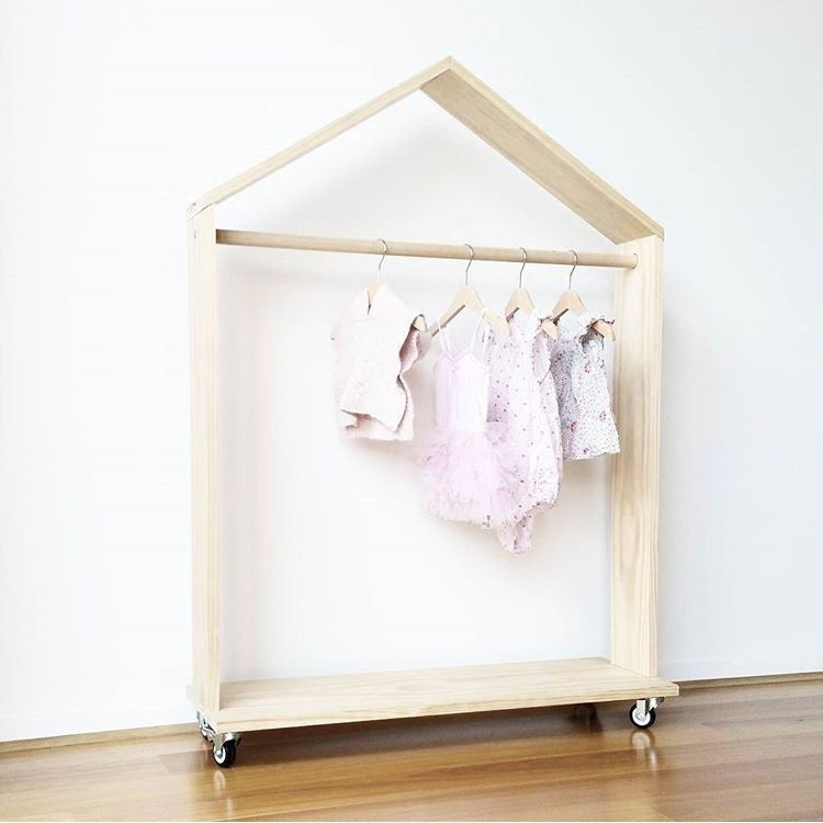Portable Kids Wooden Clothing Racks With Wheels Creative Garment Organizer Display For S Hanging Rod In Hangers From Home Garden