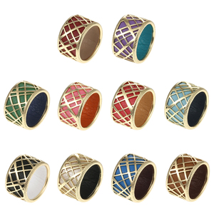 Image 5 - Cremo Liens Gild Finish Hollow Rings Set for Woman Band Reversible Insert Finger 12mm Wide Ring Jewelry Elegant Stylish Bijoux