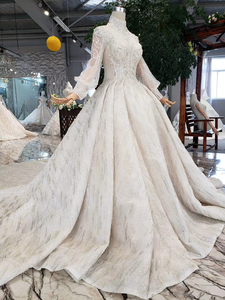 Image 3 - HTL315 高級ウェディングドレス高品質手作りビーズクリスタルブライダルドレスガール高ネック長袖sukienka elegancka