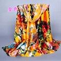 New big style women's accessories satin scarves fashion ladies' silk scarfs 2017 brand digital print female shawls wholesale