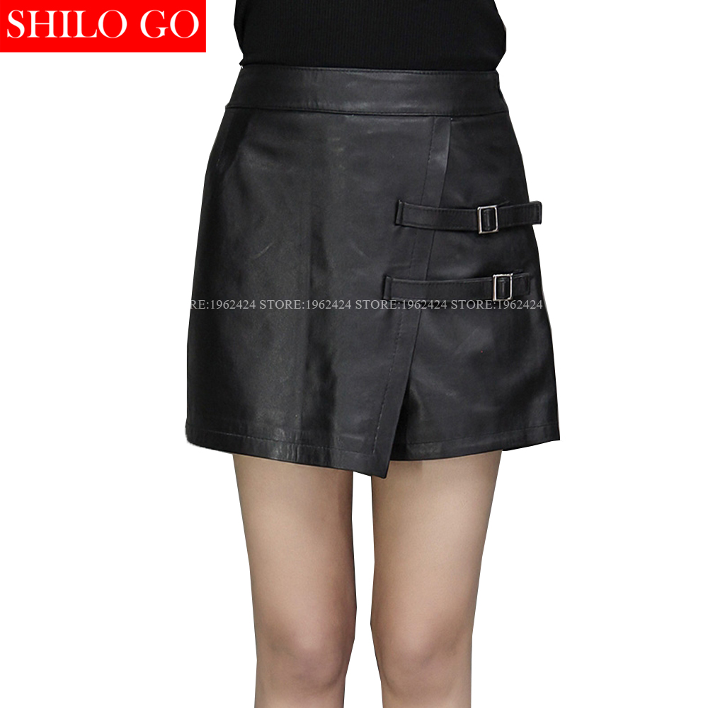 SHILO GO New Fashion Street Women's Empire Shorts Skirts Formal Office Sheepskin Genuine Leather Ladies Pencil Shorts Skirt XXXL