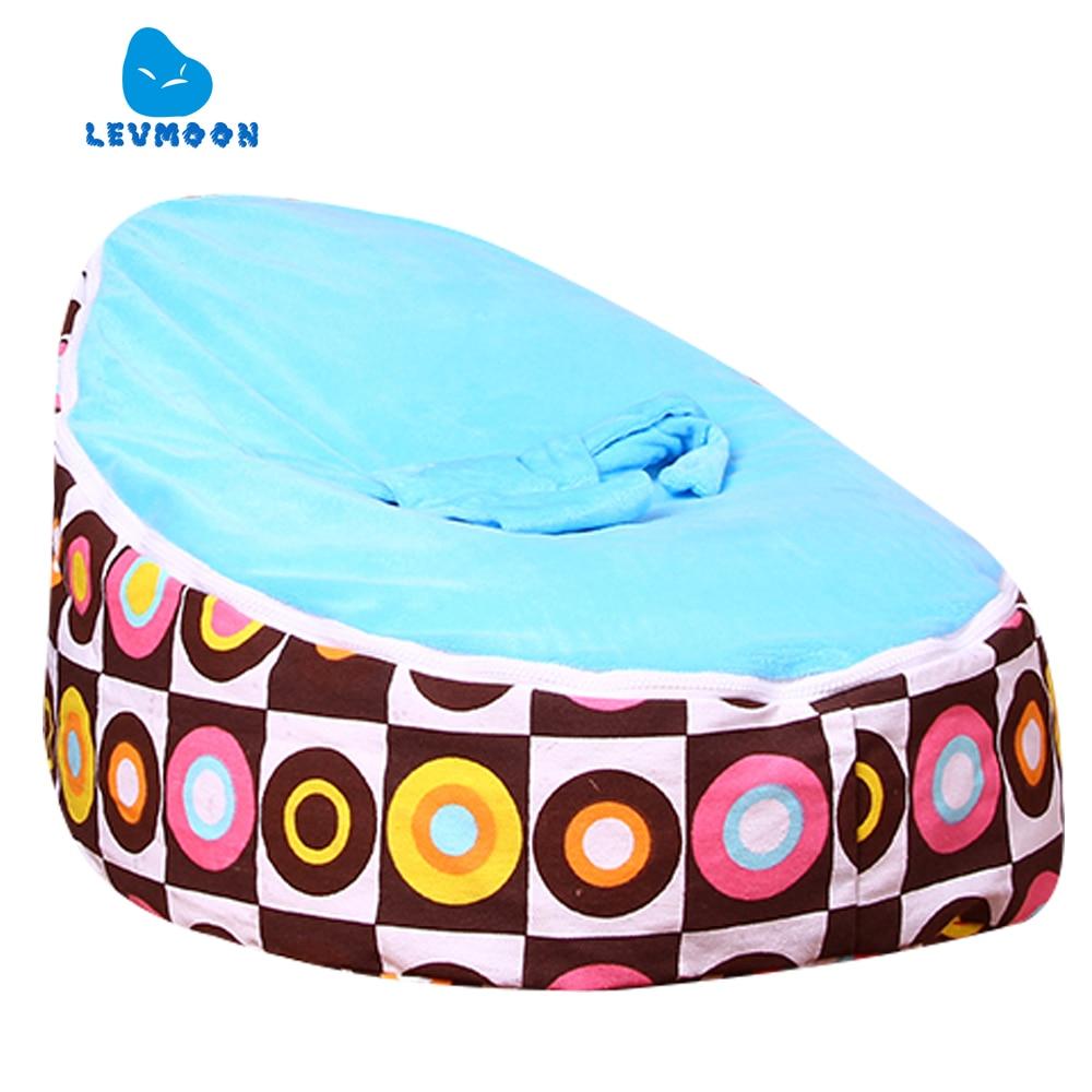 Levmoon Medium Circle Printing Bean Bag Chair Kids Bed For Sleeping Portable Folding  Child Seat Sofa Zac Without The Filler