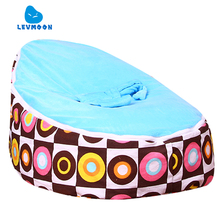 Levmoon Medium Circle Printing Bean Bag Chair Kids Bed For Sleeping Portable Folding  Child Seat Sofa Zac Without The Filler