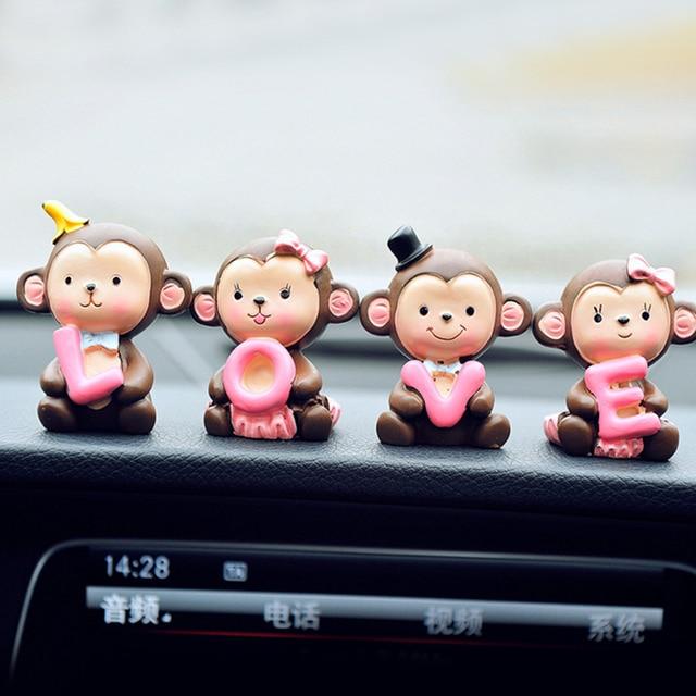 שרף האהבה יום רכב קישוט קרפט לוח מחוונים קישוט Cartoon יום הולדת מתנת אהבה חמוד קוף בית פנים משרד