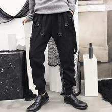 Fringed rope personality fashion pants mens feet trousers pantalones hombre cargo harem for men pantalon homme black