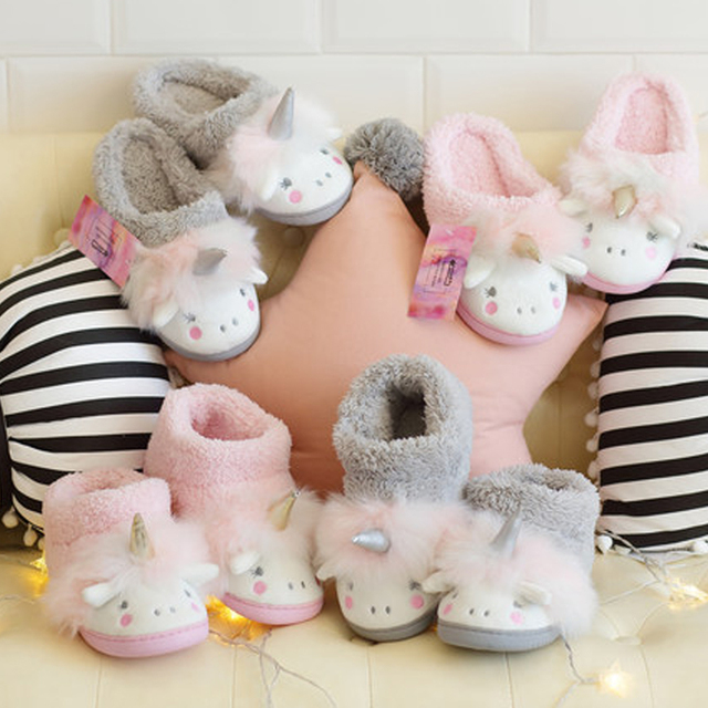818ccd72aa5 Kids Slippers Girls Unicorn Shoes Children Home Fur Boots Boots Boys Child  Winter Warm Slipper Child Unicorn Boots