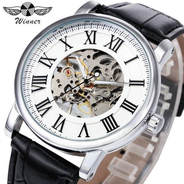 Победитель Марка Роскошные Для женщин механические часы Мода Скелет циферблат кожаный ремешок римскими цифрами женские часы Best подарок для женщины